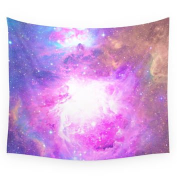 Society6 Colorful Pastel Pink Nebula Purple Galaxy Wall Tapestry