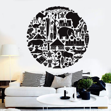Vinyl Wall Decal African Art Animal Ethnic Style Africa Stickers Unique Gift (ig4574)