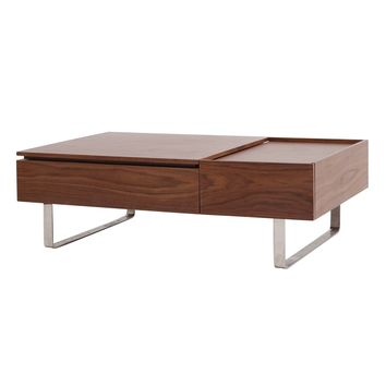 Denzel Rectangular Lift-Top Coffee Table with Storage and Drawer, Walnut