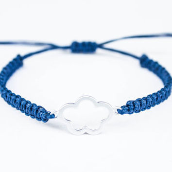 Cloud Flower Friendship Bracelet Navy Blue Adjustable
