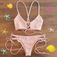 2018 New Arrival Women Bandage Bikini Set Push-up Padded Bra Swimsuit Bathing Swimwear Free Shipping