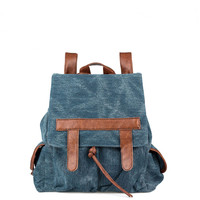 New Denim With Leather Fringeds Canvas Backpack