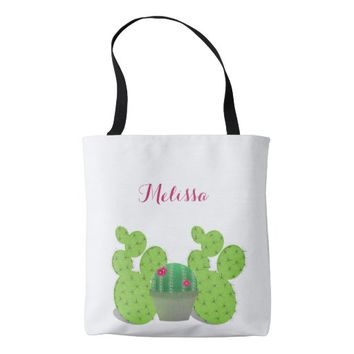 Custom cactus with your name on white tote bag