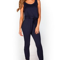 Janessa Navy Blue Open Back Casual Jersey Jumpsuit