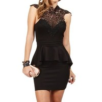 Black Crochet Peplum Dress