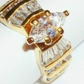 Wedding Band CZ Cocktail Ring Women's Size 5.5 Marquise Solitaire Cubic Zirconia Baguettes Gold Overlay Regal Vintage Costume Jewelry