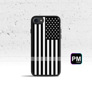 Black & White American Flag Case Cover for Apple iPhone 7 6s 6 SE 5s 5 5c 4s 4 Plus & iPod Touch