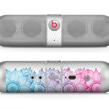 The Vibrant Vintage Polka & Sketch Pink-Blue Floral Skin for the Beats by Dre Pill Bluetooth Speaker