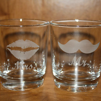 Set of Etched Wedding or Newlywed Mr. and Mrs. Glasses - Lips and Mustache