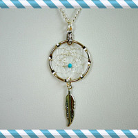 Handmade Silver Dream Catcher Necklace with Turquoise bead