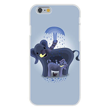Apple iPhone 6 Custom Case White Plastic Snap On - 'Elephant Showers' Cute Mom & Baby Trunk Squirting