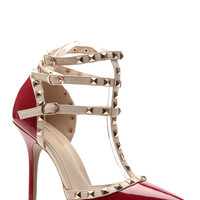 Dark Red Gloss Studded Pointed Toe Single Sole Heels