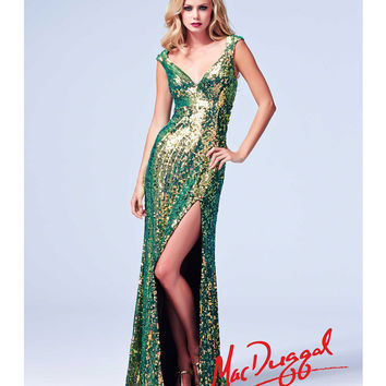 (PRE-ORDER) Mac Duggal 2014 Prom Dresses - Peacock Green Sequin Beaded Cap Sleeve Ladder Back Stretch Knit Gown