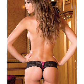 Crotchless Lace Thong With Lace Up Back