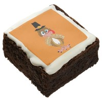 Comical Thanksgiving Turkey Square Brownie