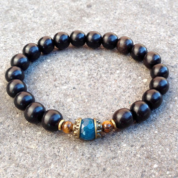 Ebony and blue sapphire jade and tiger's eye guru bead mala bracelet
