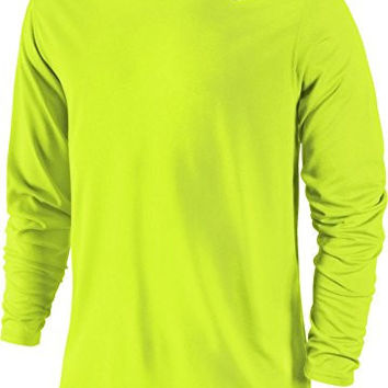 Nike Mens Legend Poly Long Sleeve Dri-Fit Training Shirt Volt/Carbon Heather 377780-731 Size X-Large