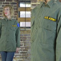 Vintage 60's B.V.D. Vietnam War Us Army Military Field Shirt Jacket