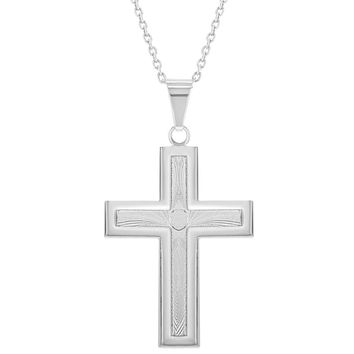 """Silver Plated Textured Large Catholic Cross Pendant Religious Necklace 19"""""""