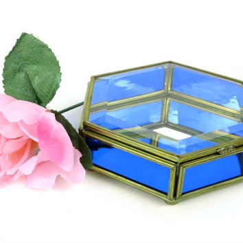 Vintage Brass and Glass Display Box - Blue Glass - Trinket Box - Display Case - Glass Jewelry Box