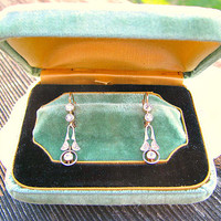 Charming Antique Diamond Earrings, Art Nouveau to Art Deco, appr .70 ct Fiery Old Diamonds, Elegant Foliate Dangle Design, Fabulous Deco Box