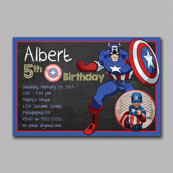 ADF 217 Marvel Captain America Chalkboard Kids Birthday Invitation Party Design