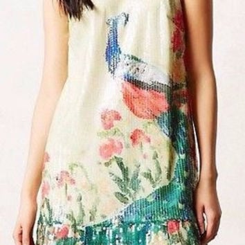 Anthropologie Shimmered Plume Dress Sz 0 and 2 - by Leifsdottir - NWT