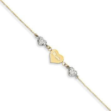 14kt Yellow Gold 9 Inch Two Tone Mom Puffed Heart Charm Ankle Bracelet