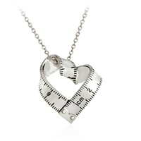 Measure Necklace Twisted Heart shaped ruler Pendant Scale Measuring tape Necklace for Women Men Jewelry Gift For Teacher Student