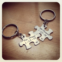 Hand Stamped Keychain - Personalized Keychain His Pincess - Her Prince with Anniversary Date Couples Keychains Puzzle Piece
