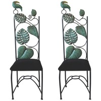 Los Castillo Pair of Studio Made Brass and Iron Chairs