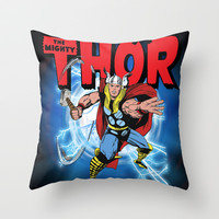 The Mighty Thor! Throw Pillow by WaXaVeJu