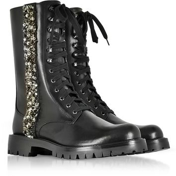 Rene Caovilla Black Leather Combat Boots w/Crystals