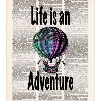 Hot Air Balloon, Life is an Adventure, Dictionary Print