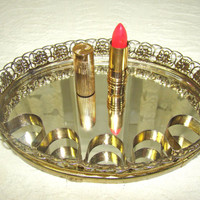 Vintage Mirrored Vanity Tray with Lipstick Tube Slots and Two Vintage Lipstick Tubes.