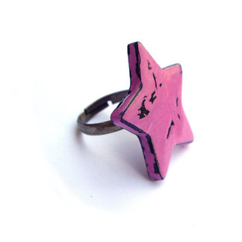 Ring Star Ring Pink Ring Polymer clay jewelry by JPwithLove