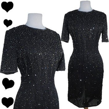 Dress Vintage 80s BEADED Sequin Sparkle Cocktail Party Dress M Silk Glam Short Sleeves