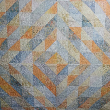 Throw Quilt in Light Blue Grey and Yellow Diamond Pattern