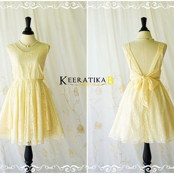A Party V Shape Dress Vanilla Lace Backless Dress Pale Yellow Lace Party Dress Lace Wedding Bridesmaid Dress Cocktail Prom Dresses XS-XL