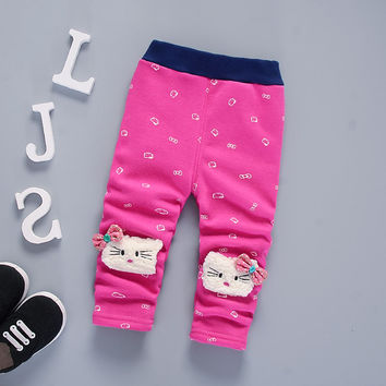 BibiCola autumn and winter warm pants baby girls plus velvet thicken leggings kids winter trousers for girl baby warm pants 0-4Y