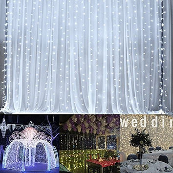 Ucharge Window Curtain Icicle Lights 304led 9.8ft 8modes Linkable White Light Christmas Curtain String Fairy Wedding Led Lights for Weddings, Party, Outdoor Wall, Home, Kitchen, Window Decorations