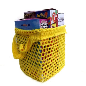 Reusable Grocery Bag - Yellow Farmer's Market Tote - Beach Bag - soccer bag - activity bag - laundry bag - housewarming gift - dance bag