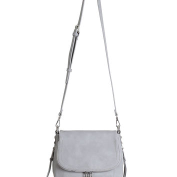 Gray Vegan Leather Shoulder Bag