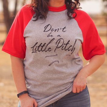 Little Pitch Baseball Tee in Red