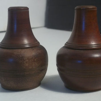 Vintage Wooden Salt and Pepper shakers,Collectible Vintage,Home Decor,Castawayacres