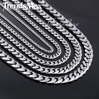 Fashion Gift Customized 3/5/7/9/11mm Wide Mens Chain Necklace Curb Cuban Link Silver Tone Stainless Steel Necklace Jewelry KNM07