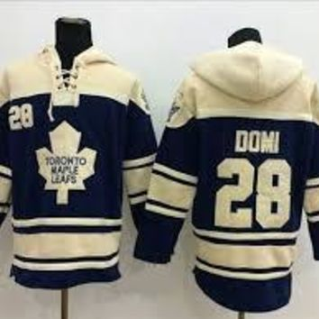 Original Toronto Maple Leafs 28 Tie Domi Old Time Best Quality Cheap Black Embroidery Logo Ice Hockey Hoodies