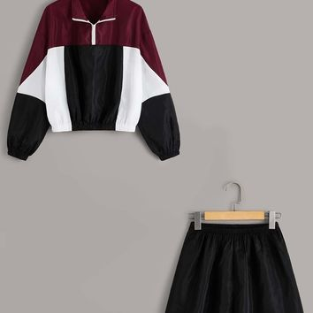 Zip Front Colorblock Windbreaker Jacket And Track Shorts Set