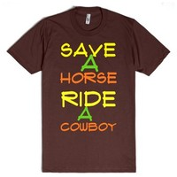 ride a cowboy-Unisex Brown T-Shirt