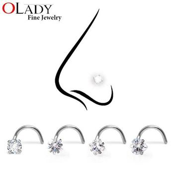 ac DCCKO2Q Crystal Zironia Nose Rings  Piercing Jewelry 316L Stainless Steel - 3MM